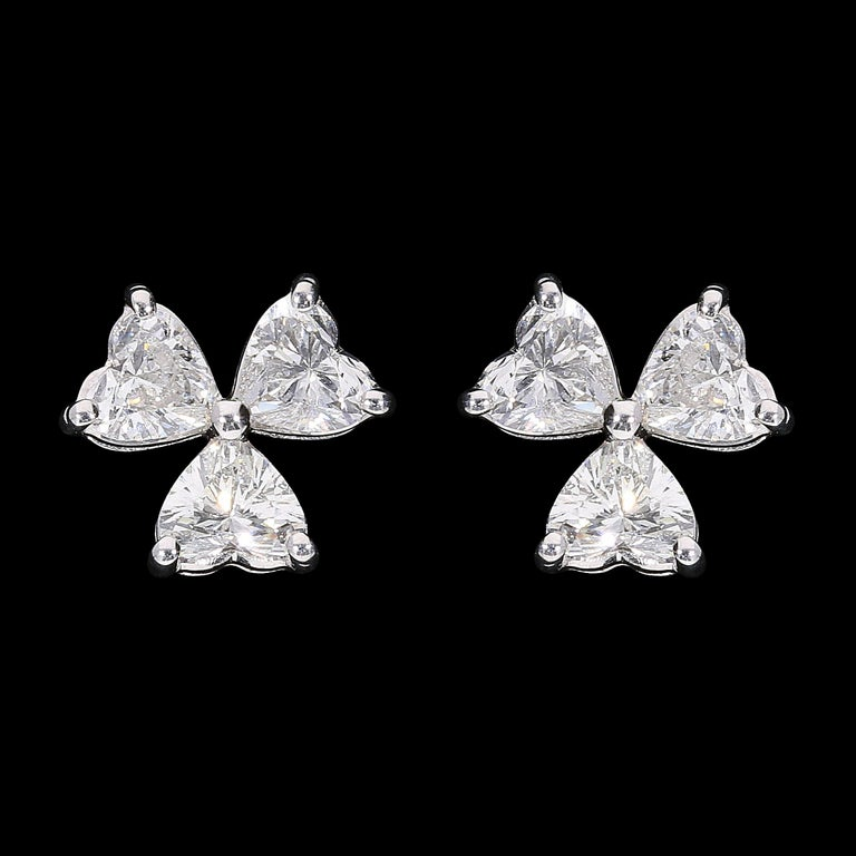 Delicate and Chic Diamond Earrings consisting of 3 1/5ct Heart Shape Diamonds Each Side. It is a perfect daily wear earring for work and for going out. The stone quality is VS-SI G/H Color.  This item is available to order in Rose Gold, White Gold