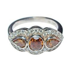 3-Stone, Platinum and Brown Diamond Ring