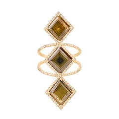 3 Stone Portrait Cut Olive Diamond Slice with Halo in 18k Yellow Gold Ring