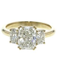 3-Stone Radiant Diamond Engagement Ring