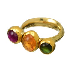 3 Stone Ring in Sold 22 and 18 Karat Gold with Multicoloured Tourmalines