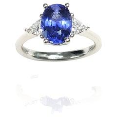 3 Stone Sapphire and Trillion Cut Diamond Ring