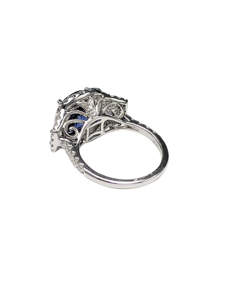 GIA Certified Sapphire White Diamond Ring 18k  Wt. Gold In Excellent Condition For Sale In Great Neck, NY