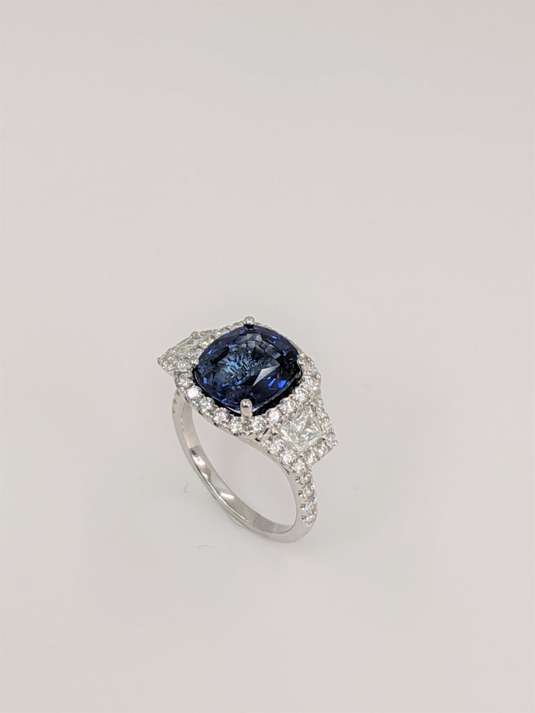 GIA Certified Sapphire White Diamond Ring 18k  Wt. Gold For Sale 1