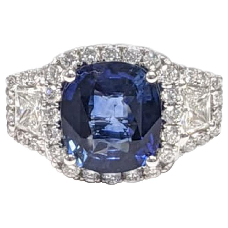 GIA Certified Sapphire White Diamond Ring 18k  Wt. Gold For Sale