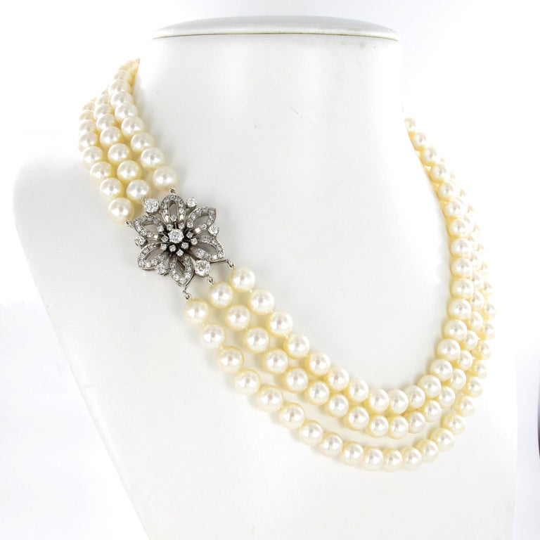 Modern 3-Strand Akoya Cultured Pearl Diamond Necklace For Sale