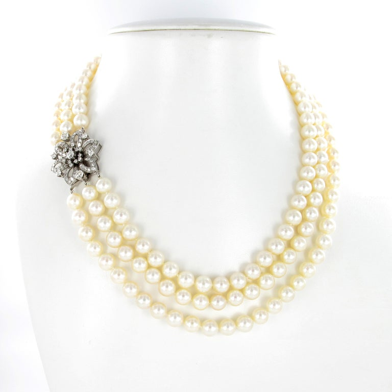 Old European Cut 3-Strand Akoya Cultured Pearl Diamond Necklace For Sale