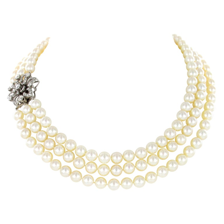 3-Strand Akoya Cultured Pearl Diamond Necklace For Sale