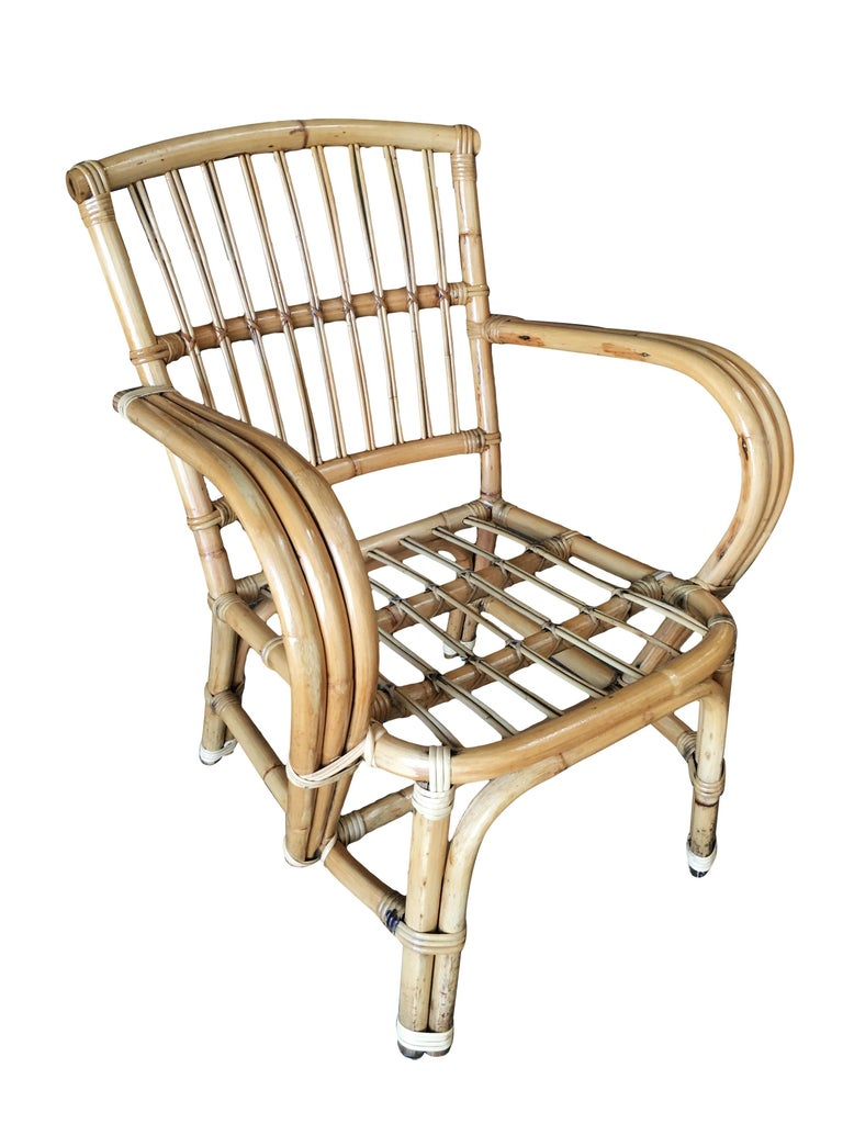 3-Strand bentwood rattan armchair with stick rattan back. Restored to new for you. All rattan, bamboo and wicker furniture has been painstakingly refurbished to the highest standards with the best materials. All refinishing is done by rattan workers