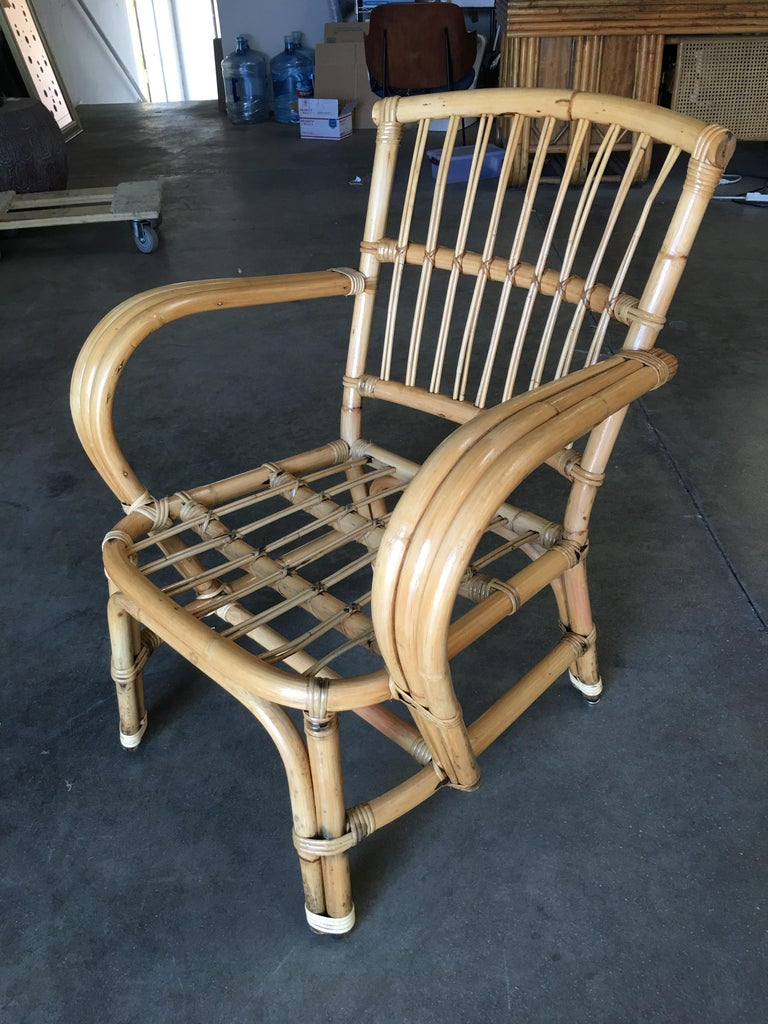 Mid-Century Modern 3-Strand Bentwood Rattan Armchair with Stick Rattan Back For Sale