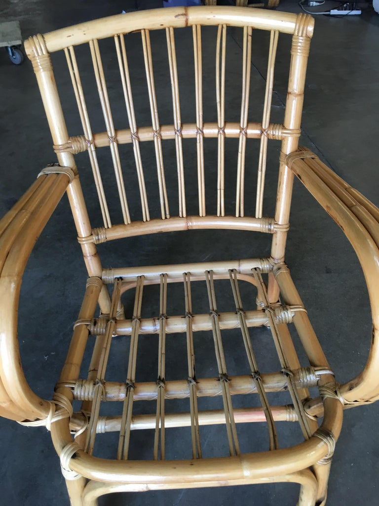 American 3-Strand Bentwood Rattan Armchair with Stick Rattan Back For Sale