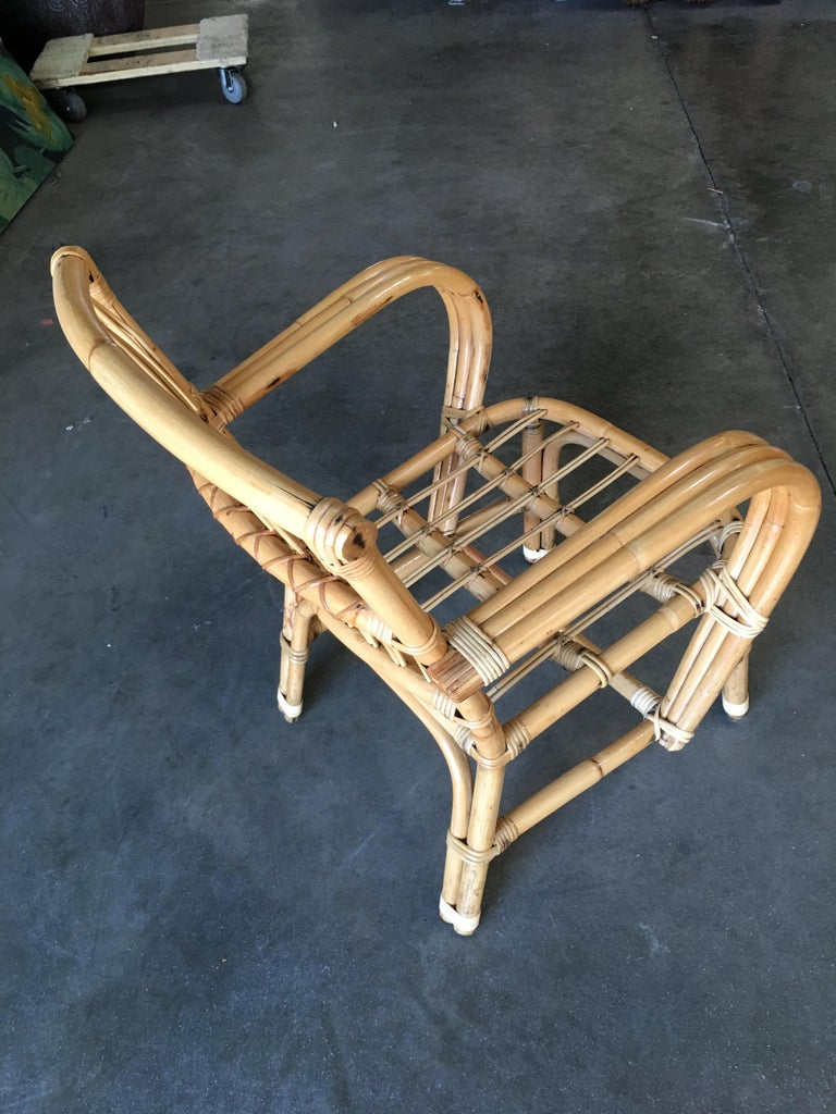3-Strand Bentwood Rattan Armchair with Stick Rattan Back For Sale 2