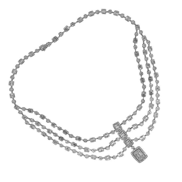 3 Strand Halo Diamond Necklace In New Condition For Sale In Boca Raton, FL