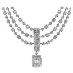 3 Strand Halo Diamond Necklace