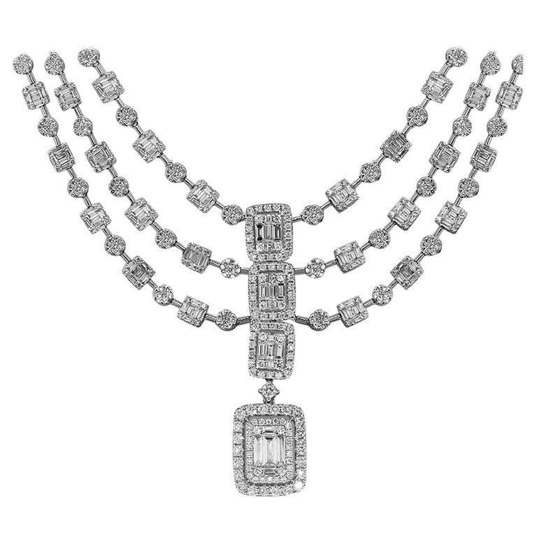3 Strand Halo Diamond Necklace For Sale