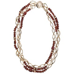 3-Strand Italian Gold Chain Necklace Spessartite and Tsavorite Garnet Diamonds