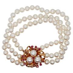 3-Strand Tasaki Akoya Pearl Bracelet with 14 Karat Gold & Ruby Clasp