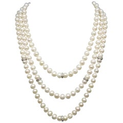 3 Strands of Fresh Water Cultured Pearls with 14k Diamond Rondles