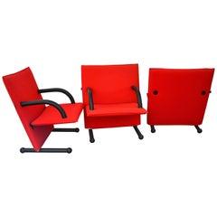 Burkhard Vogtherr Post-Modern Red Fabric T-Line Armchairs for Arflex, 1980