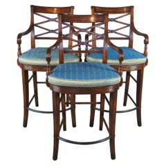 3 Theodore Alexander Flamed Mahogany X Back Caned Regency Counter Bar Stools