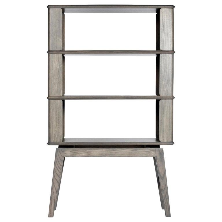 3-Tier Bookshelf/Storage - Ash Wood with Gray Stain by Debra Folz For Sale