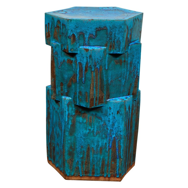 3-Tier Ceramic Hex Side Table by BZippy & Co. For Sale