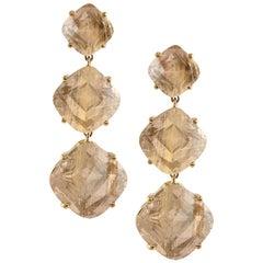 3-Tier Golden Rutilated Cushion Earrings