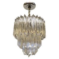 3 Tier Triedri Glass Prism Chandelier Style of Venini