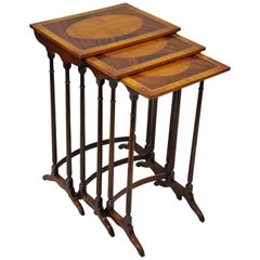 3-Tier Yew Wood & Mahogany English Regency Style Inlaid Nesting End Side Tables