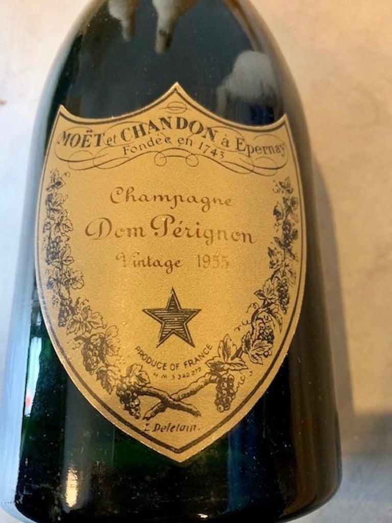 French 3 Unopened Bottles of Dom Perignon, 1952 and 1955 For Sale