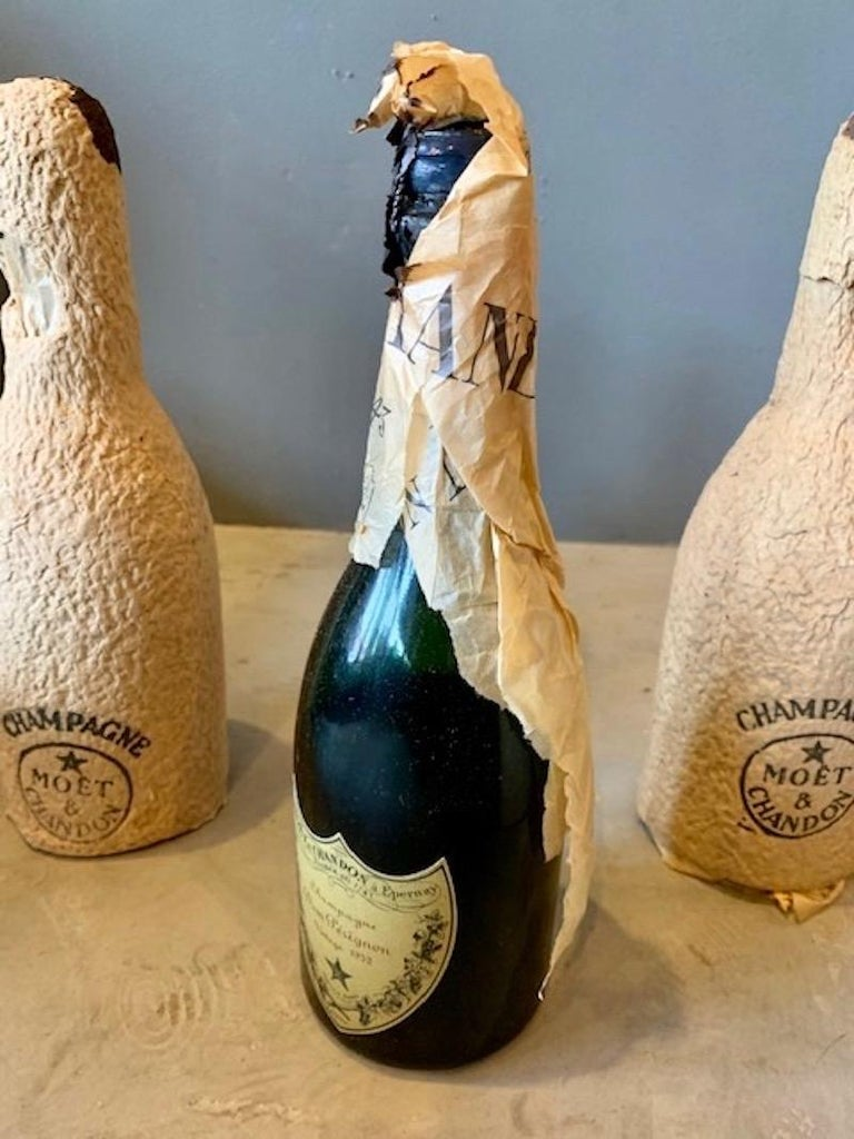 Mid-20th Century 3 Unopened Bottles of Dom Perignon, 1952 and 1955 For Sale