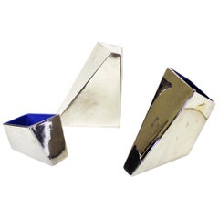 20th Century Chromed Silver Ceramic Irregular Parallelepiped Vases for Driade
