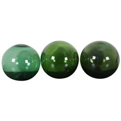 3 Vintage Green Japanese Blown Glass Fishing Floats Nautical Buoy Marker
