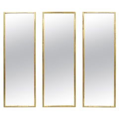 3 Vintage Italian Hollywood Regency Faux Bamboo Wood Frame Gold Wall Mirrors
