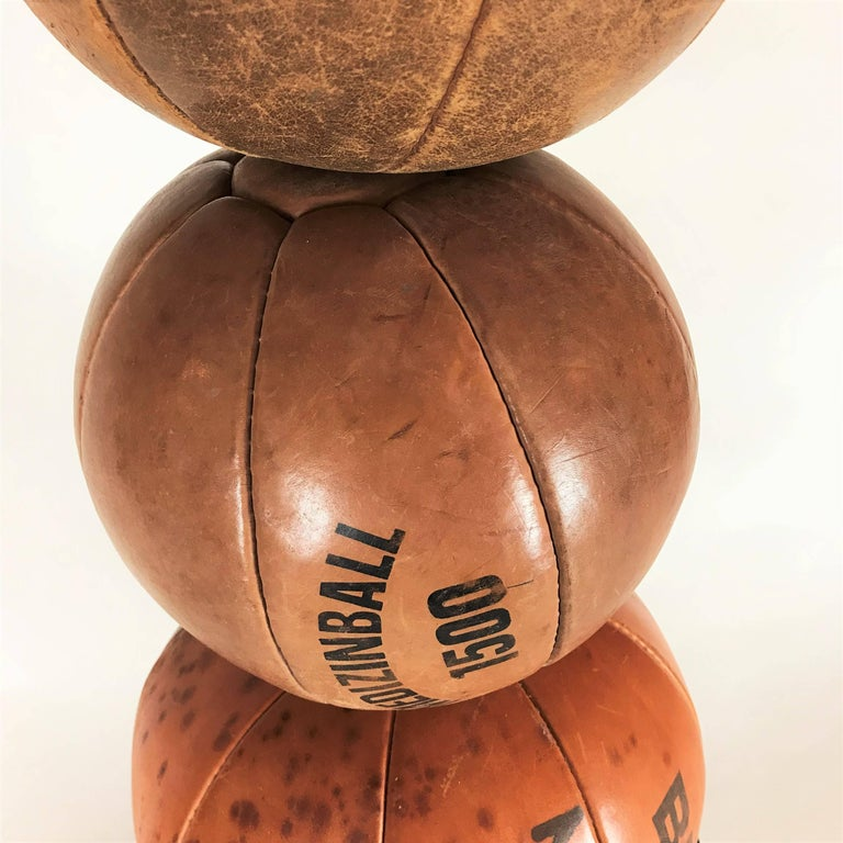 Bauhaus Three Vintage Leather Medicine Balls, 1920s-1930s Germany For Sale