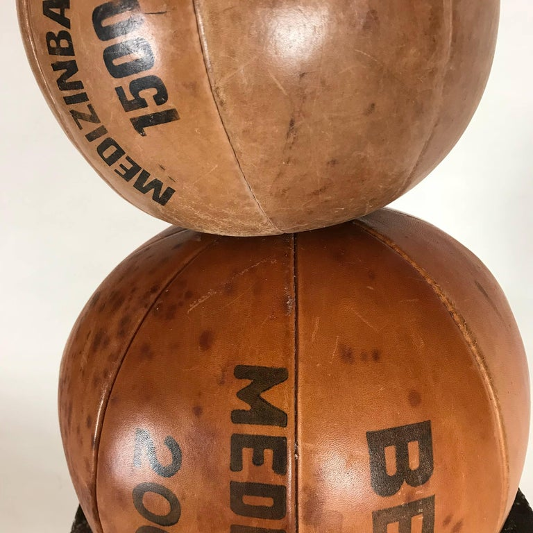 Hand-Crafted Three Vintage Leather Medicine Balls, 1920s-1930s Germany For Sale