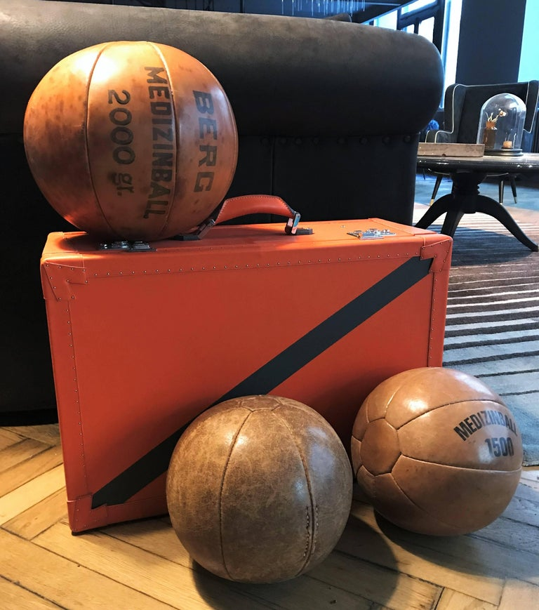 Early 20th Century Three Vintage Leather Medicine Balls, 1920s-1930s Germany For Sale