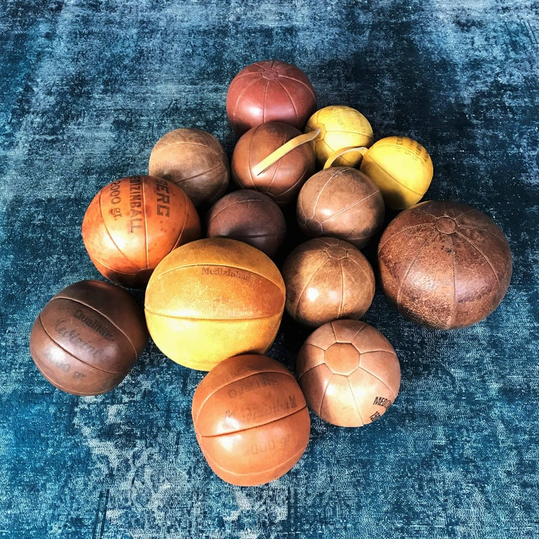 Three Vintage Leather Medicine Balls, 1920s-1930s Germany For Sale 1