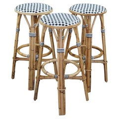3 Vintage Woven Bamboo Wicker Rattan Bentwood Parisian French Bistro Bar Stools