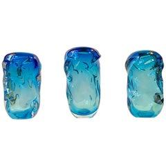 3 Waves in Blue Art Glass, Vases by Jan Beránek for Skrdlovice, 1960s