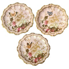 3 W.Guerin Limoges France Hand Painted Pink Butterfly/Floral Plates, 1889