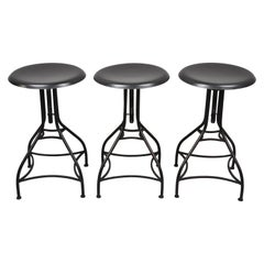 3 Wrought Iron Adjustable American Industrial Counter Bar Stools