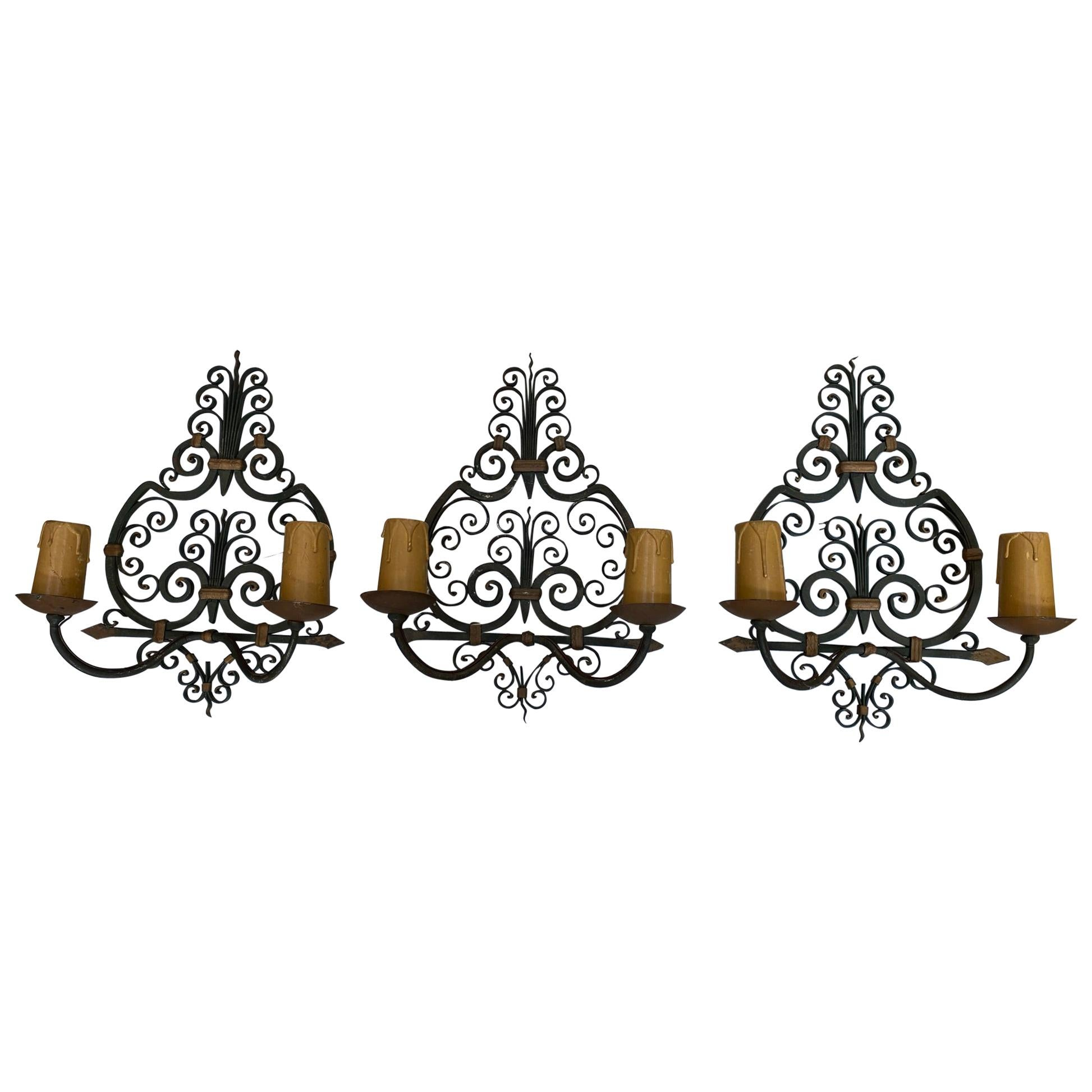 3 Wrought Iron, Art Deco Wall Sconces, French, 1940s