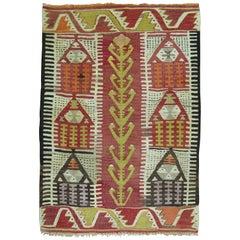 Throw Size 20th Century Hand Knotted Turkish Prayer Kilim Flat-Weave