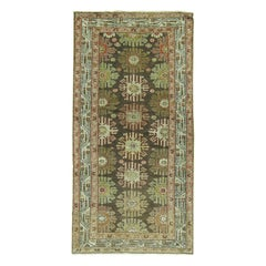 Charcoal Green Brown Traditional Wool Persian Malayer Decorative Runner
