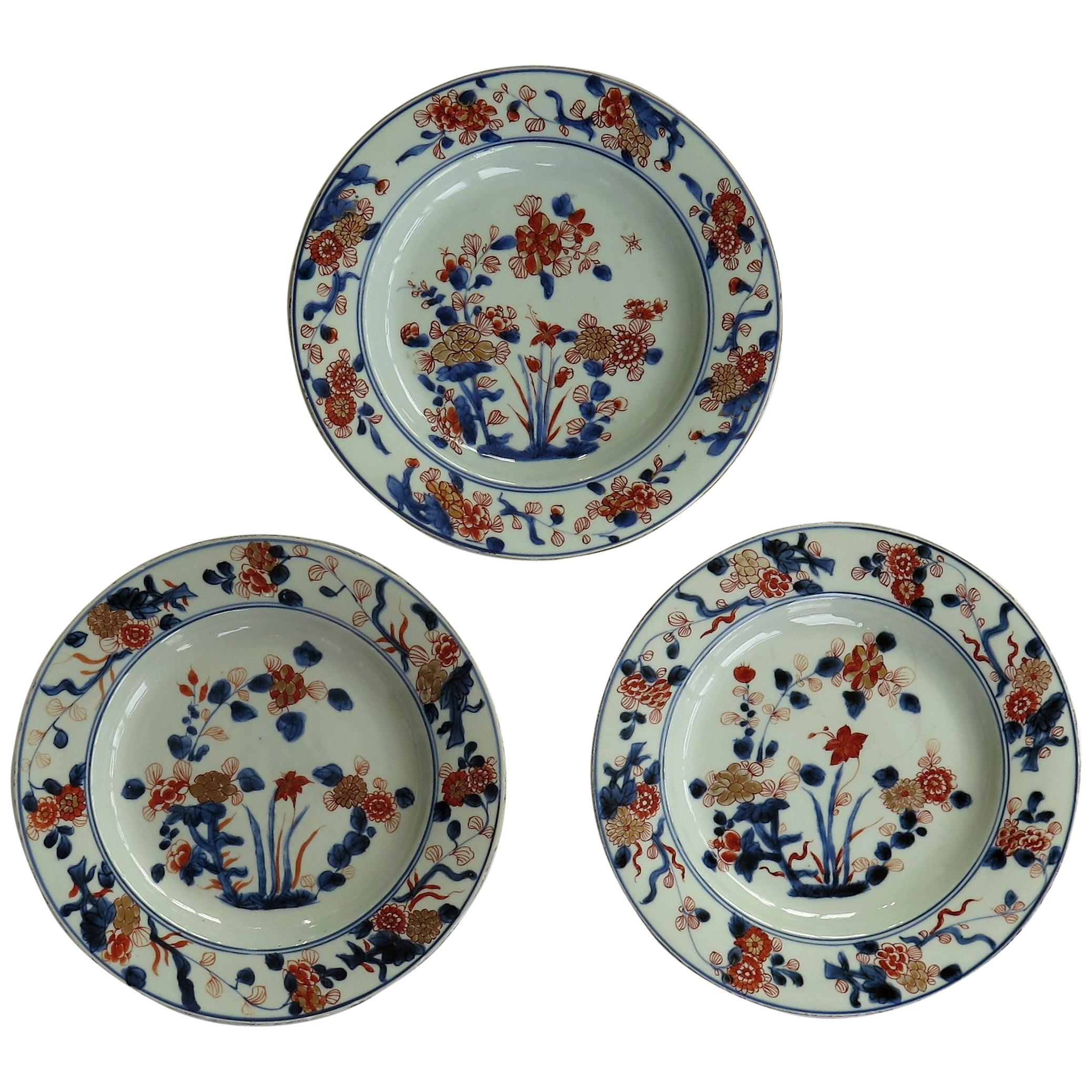 THREE Kangxi Chinese Export Porcelain Plates Artemisia Leaf Mark, Ca 1700