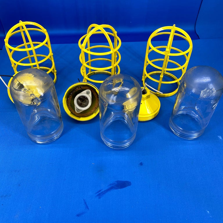 3 Yellow Salvaged Industrial Three-Light Blast Proof Ceiling Fixtures For Sale 8