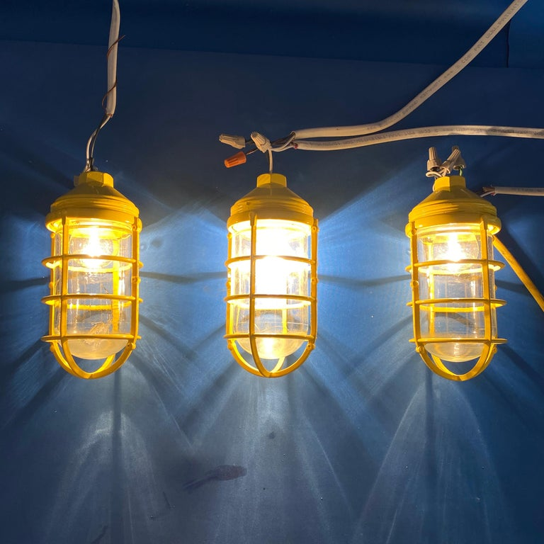 3 Yellow Salvaged Industrial Three-Light Blast Proof Ceiling Fixtures In Good Condition For Sale In Haddonfield, NJ