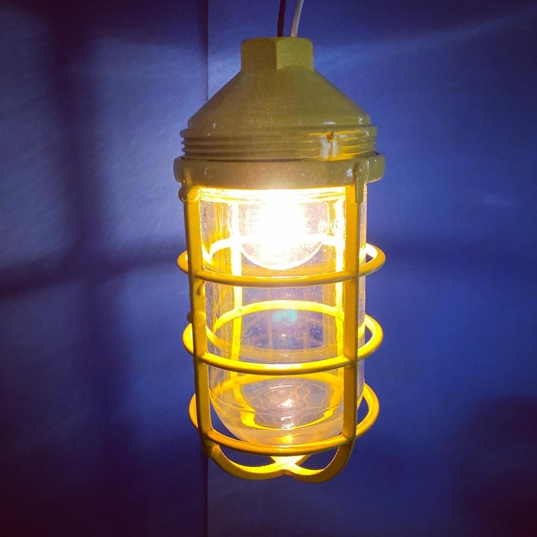 Iron 3 Yellow Salvaged Industrial Three-Light Blast Proof Ceiling Fixtures For Sale