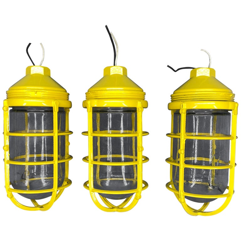 3 Yellow Salvaged Industrial Three-Light Blast Proof Ceiling Fixtures For Sale